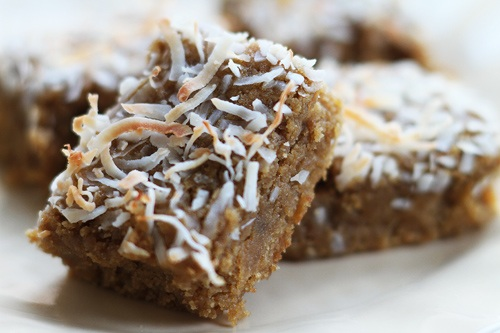 How to Use Coconut Flour and Gluten Free Toasted Coconut Ginger Blondies Recipe Photo