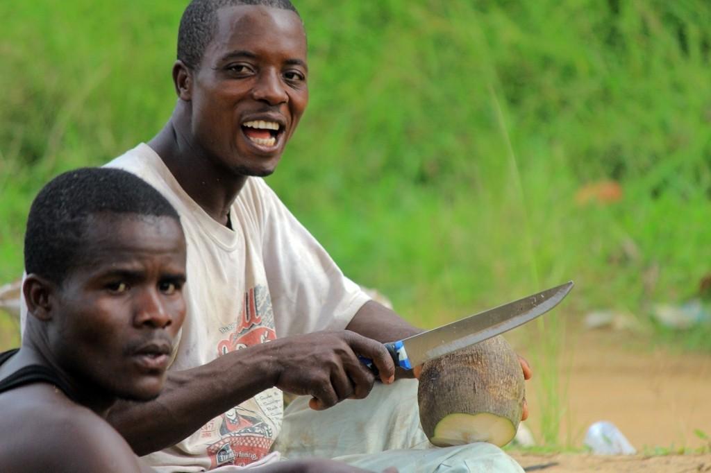 Making traditional coconut oil in Liberia.