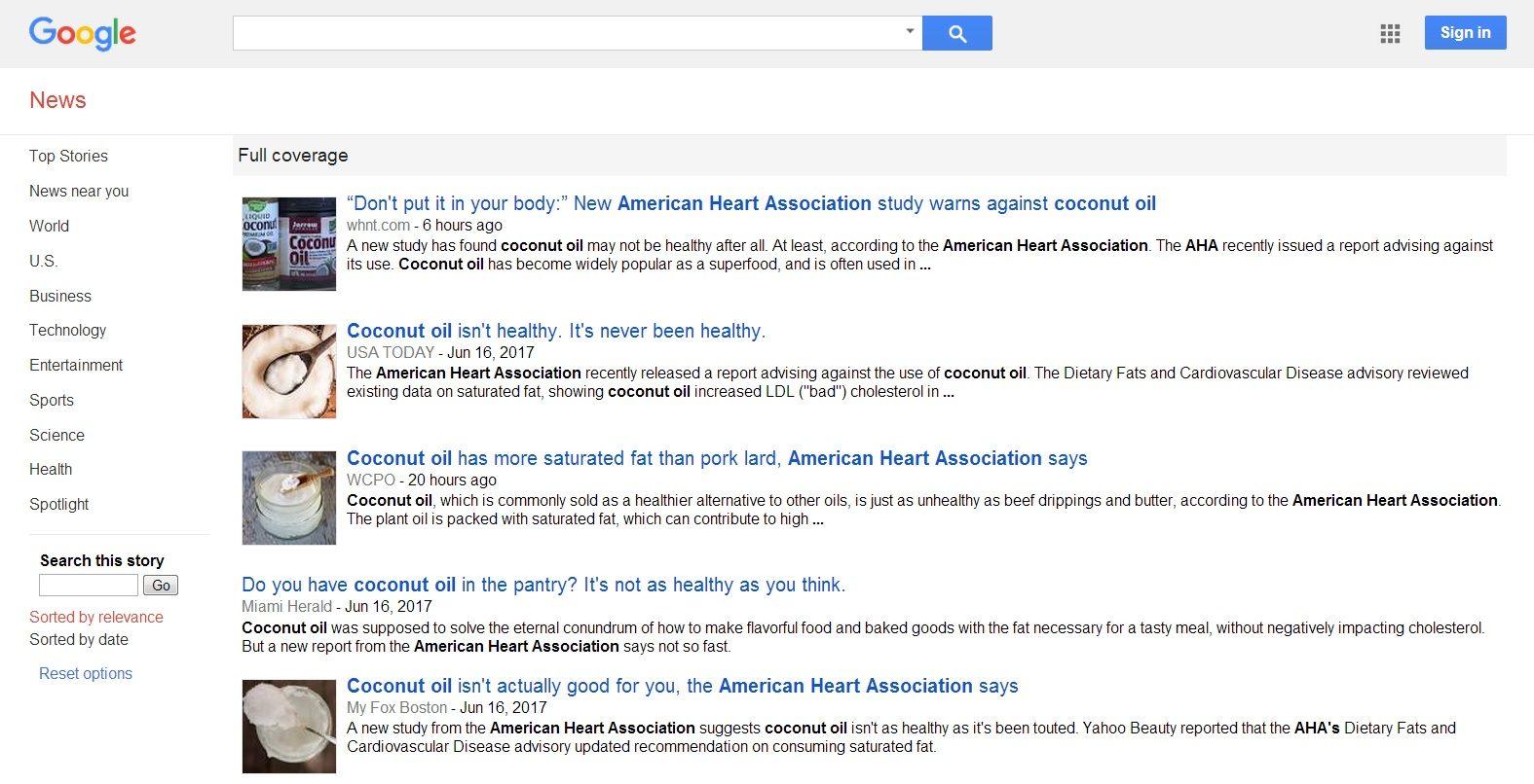 Google News Coconut Oil AHA