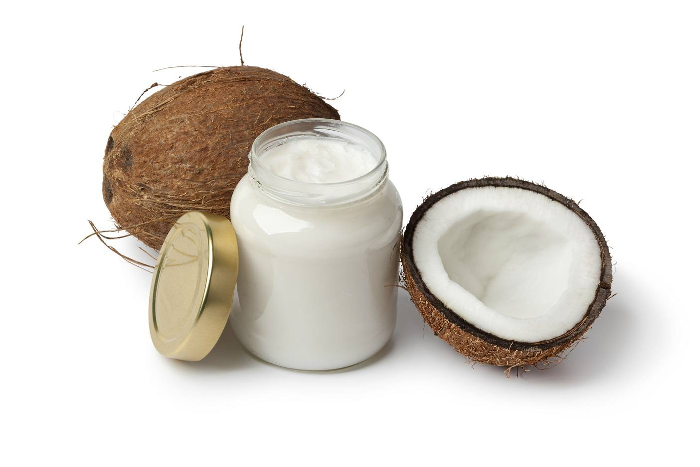 Coconut oil and fresh coconut on white background image