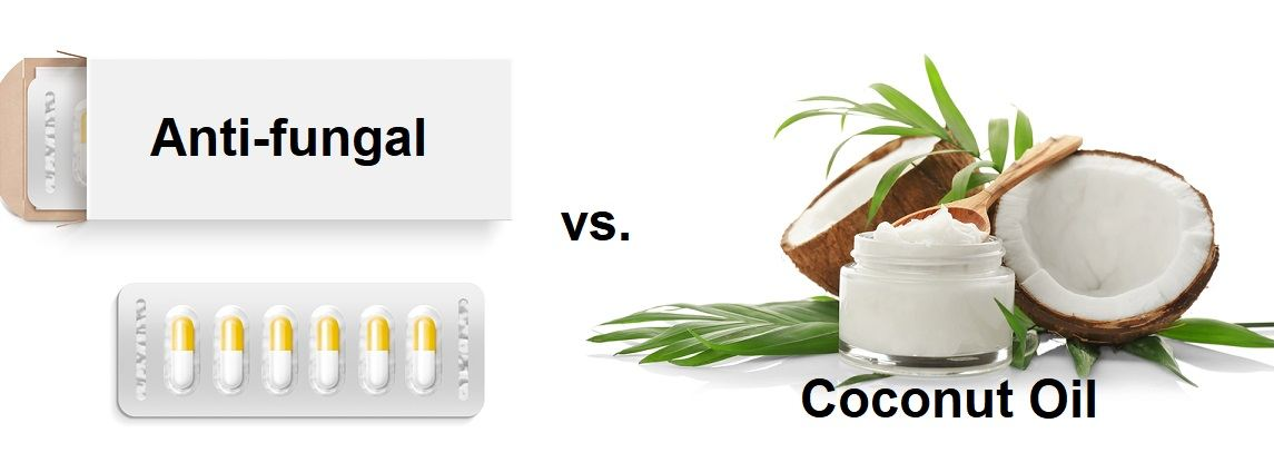 White pill box with coconut oil concept.